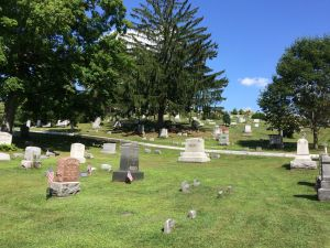 View of graves at Boonville Cemetery