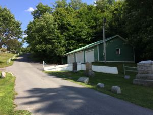 View of maintenance building at Boonville Cemetery