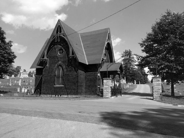 View of entrance building and gate at Boonville Cemetery